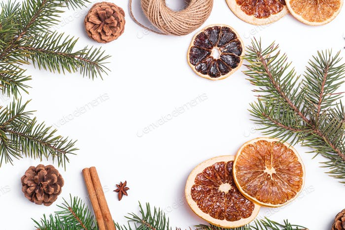 Christmas composition with dried citrus slices