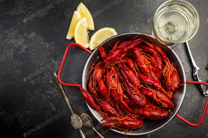 Boiled Crayfish, Seafood Dish Served With White Wine