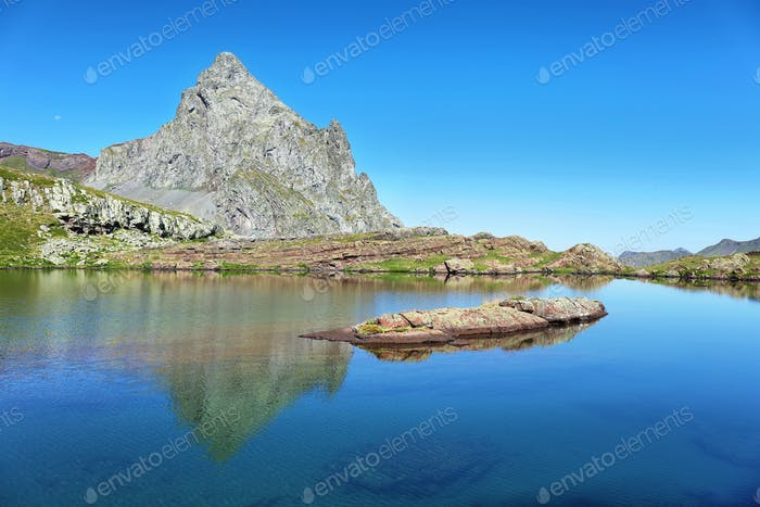 Anayet peak and Anayet lake in Spanish Pyrenees, Spain.
