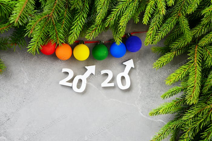 Greeting New Year or Christmas card for 2020 showing two male Mars symbols
