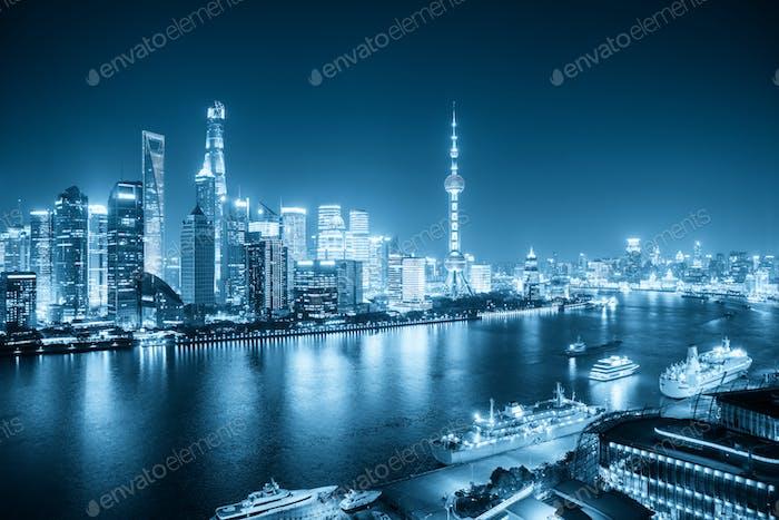 shanghai night scene with blue tone, view from north bund,