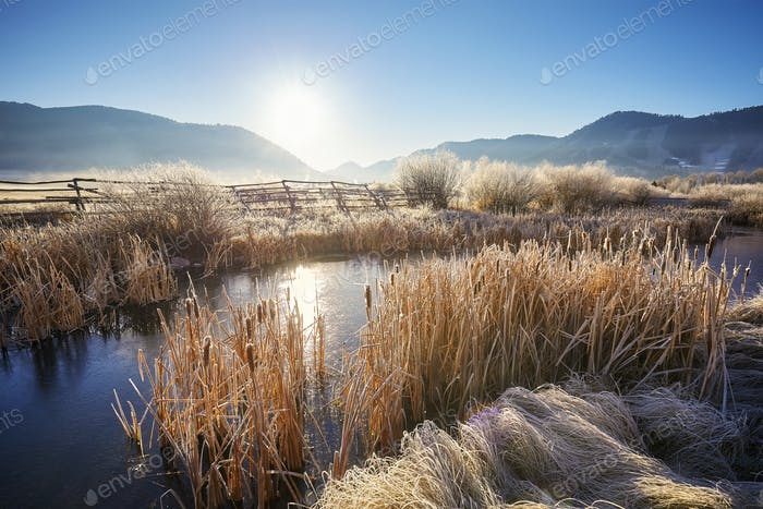 Frosty sunrise at Grand Teton National Park, USA.