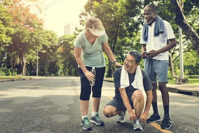 Senior People Jogging Park Happiness Concept