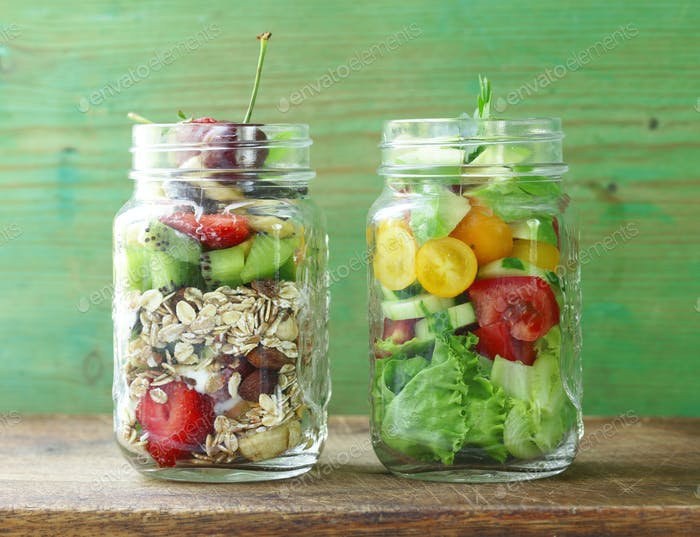 Müsli und Salat