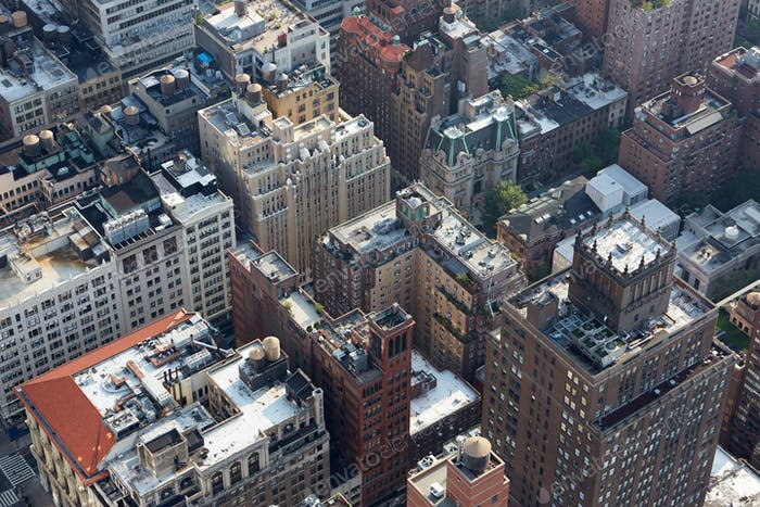 New York City Manhattan skyline aerial roof tops view