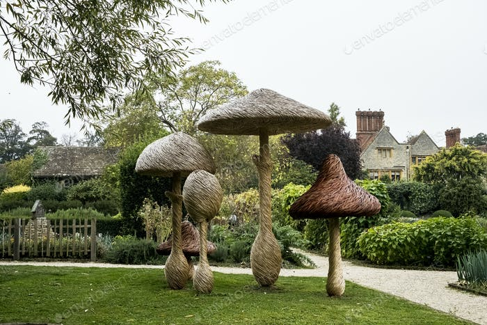 Tall wooden carved toadstools garden sculptures