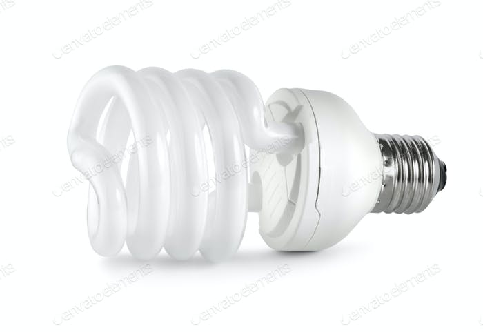 Energy saving  fluorescent lightbulb. Path