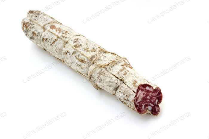 typical italian salami isolated on white background
