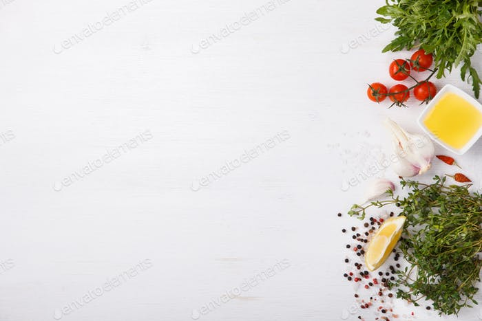 Fresh cooking ingredients and spice.Vegetarian or diet,and healthily cooking concept.