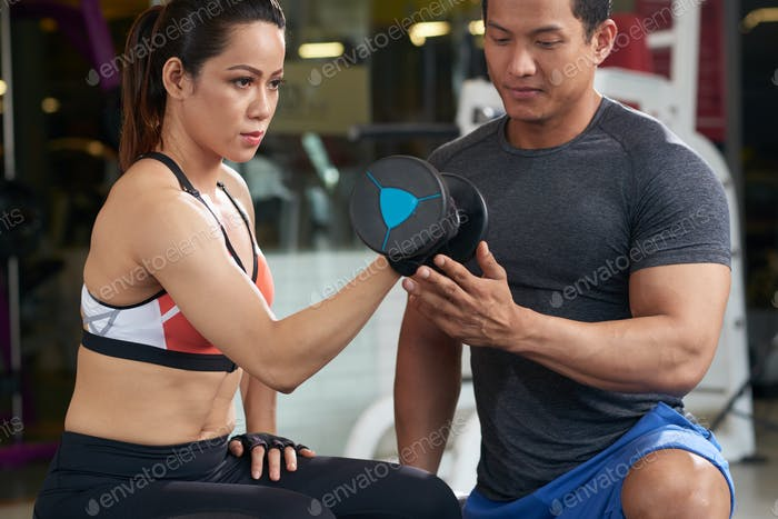 Exercising with trainer
