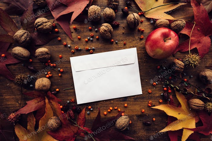 Autumn mail envelope flat lay mock up