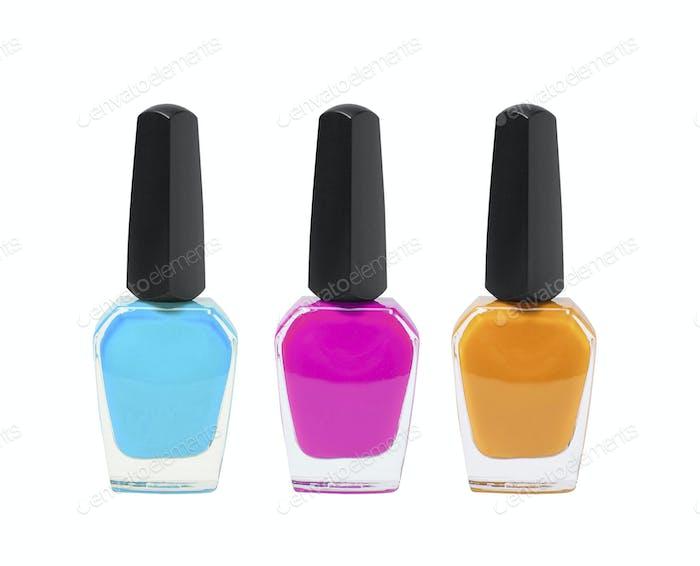 nail polish bottles on white background