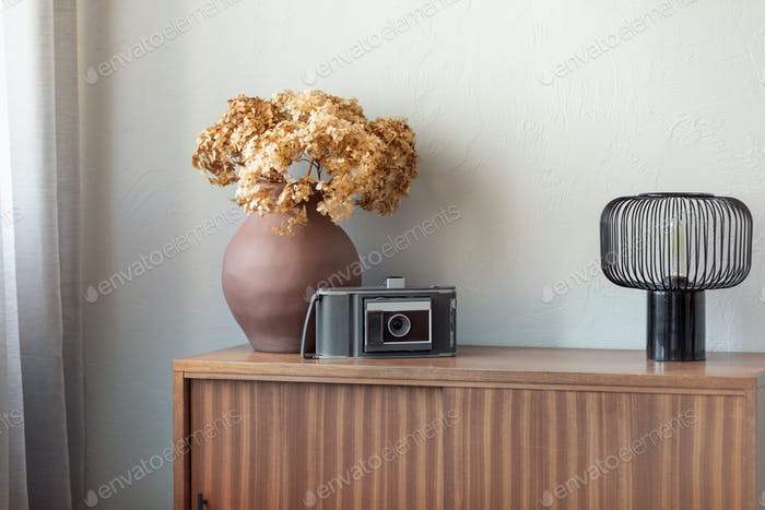 vase next to old vintage camera and industrial lamp on retro wooden cabinet