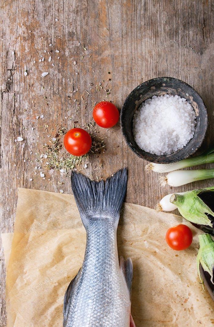 Raw seebass fish