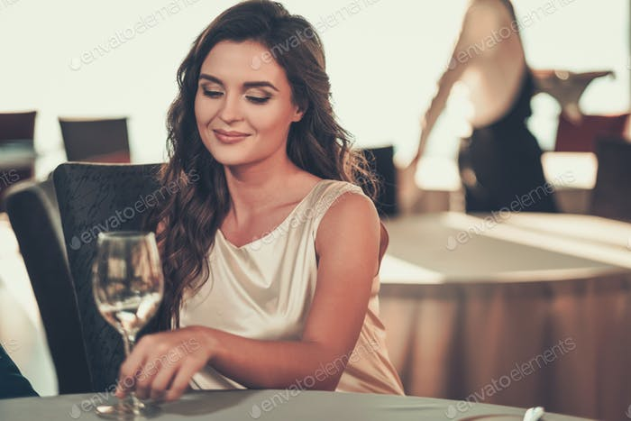 Beautiful lady in a restaurant