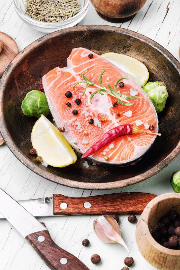 Fresh raw salmon steaks