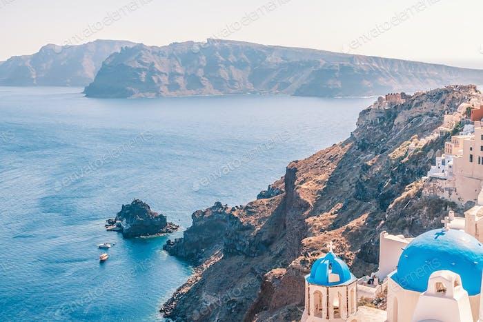 White architecture of Oia village on Santorini island.