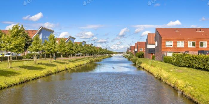 River in modern suburb neigborhood