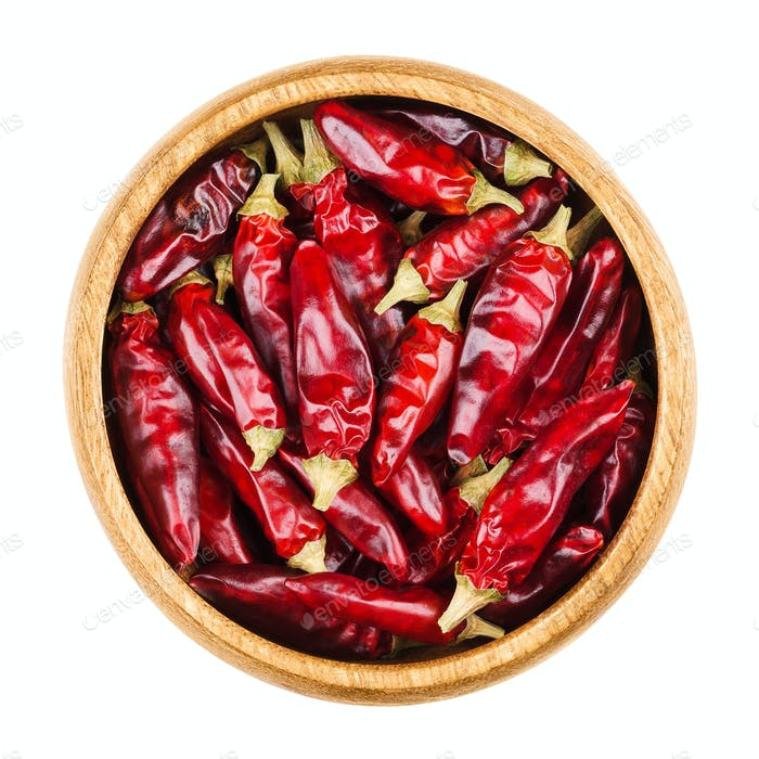 Red hot tabasco chili peppers in a bowl on white