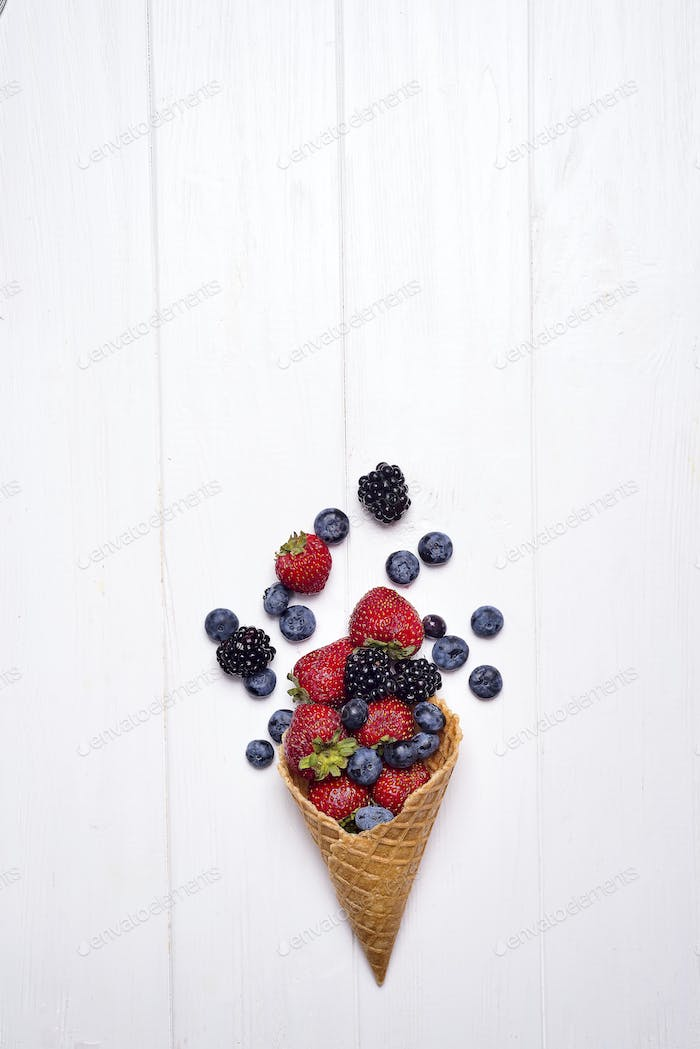 Summer berries in waffle cone