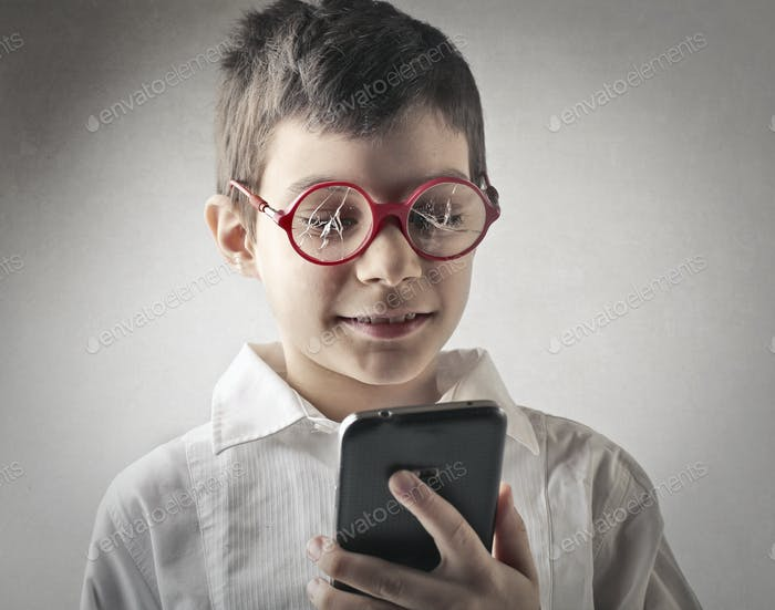 Child with broken glasses