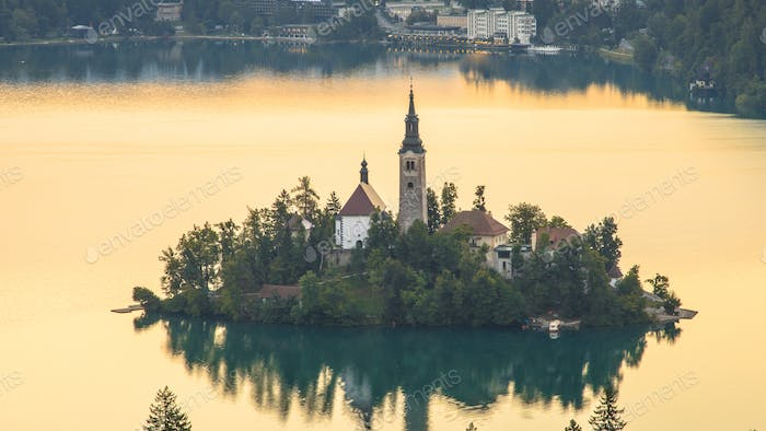 Aerial view of the island in lake Bled