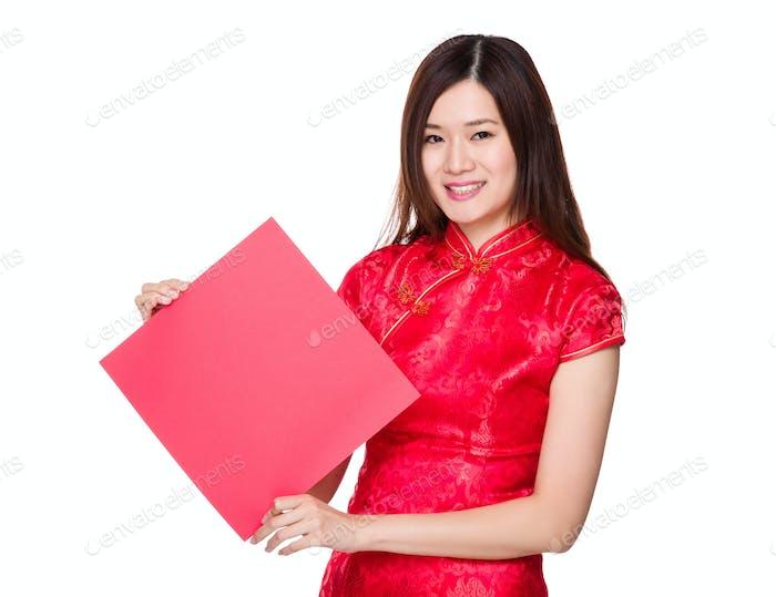 Chinese woman show with the blank Fai chun