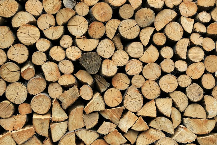 Firewood pile stacked chopped wood trunks