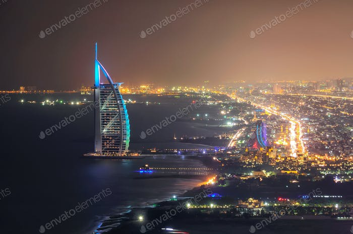 Jumeirah beach view with 7 star hotel Burj Al Arab, Dubai, United Arab Emirates