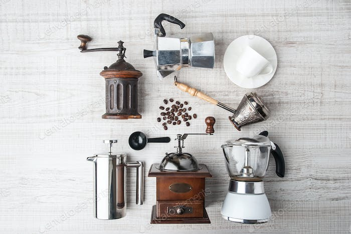 Thumbnail for Set of accessories for coffee on the white wooden table