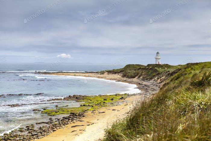 54674,Craggy coastline and lighthouse, Waikawa Point, New Zealand