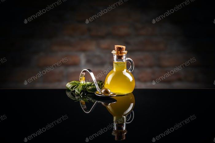 Olive oil in small oilcan