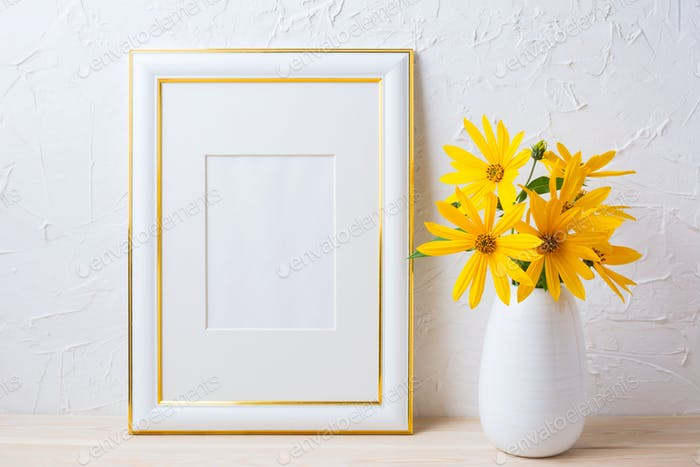 Gold decorated frame mockup with yellow rosinweed flowers