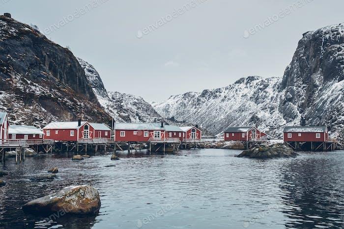 Nusfjord Fischerdorf in Norwegen