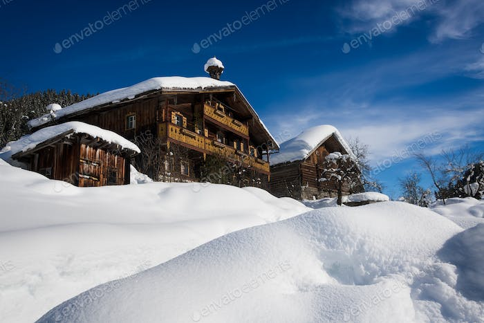 Traditional ski resort chalets in the snow