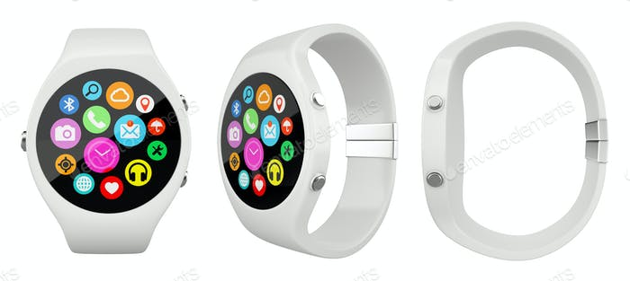 Three view White round smart watch on white background