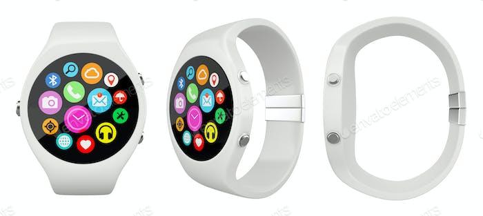 Weiße runde Smartwatch mit drei Ansichten auf weißem Hintergrund