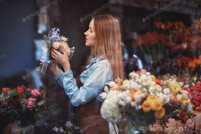 Young florist at work