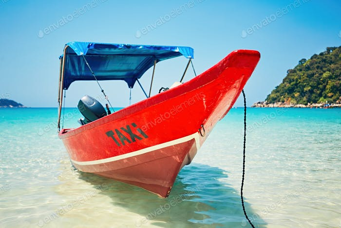 Boat taxi on the beach