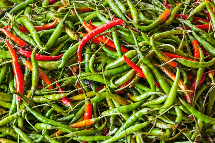Red and green spicy chili peppers