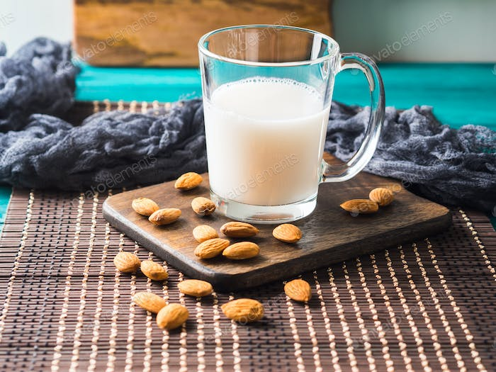 Vegan non dairy almond nut plant milk