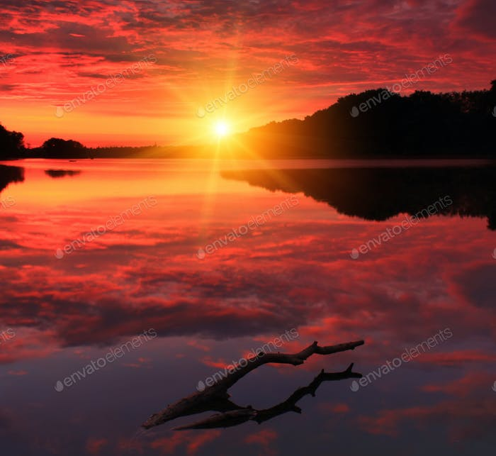 Colorful sunrise on the lake
