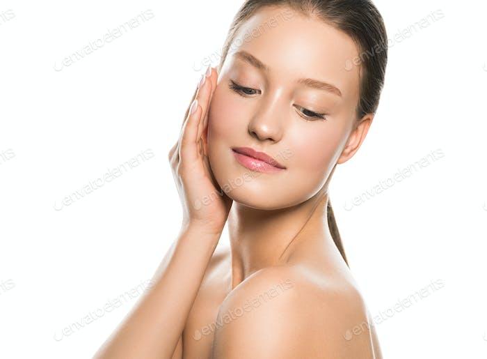 Beautiful woman healthy skin care concept portrait close up white background. Studio shot
