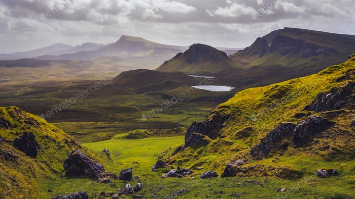 Landschaft Blick auf Quiraing Berge auf Isle of Skye, Schottische Hochland