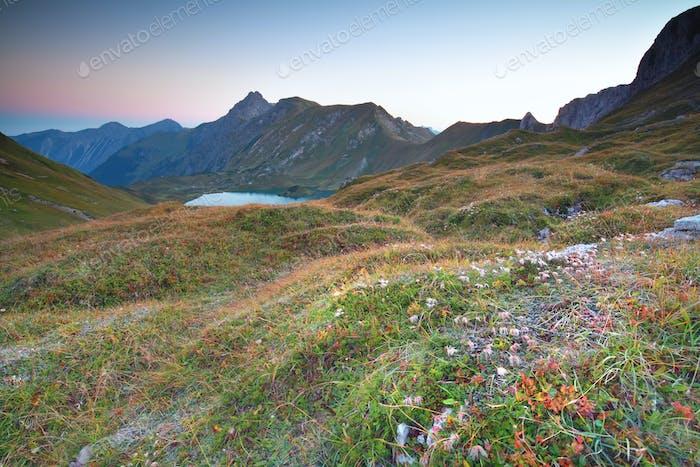 morning over alpine lake