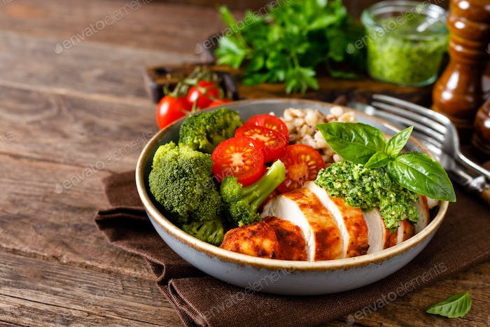 Chicken lunch bowl with vegetables and chicken meat