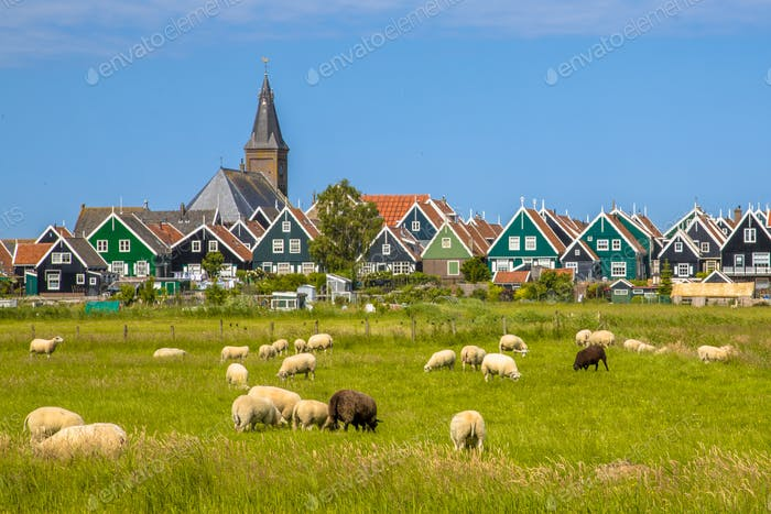 Dutch Village with colorful wooden houses and church