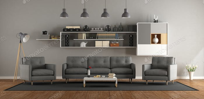 Modern living room with sofa ,armchair and bookcase - 3d rendering