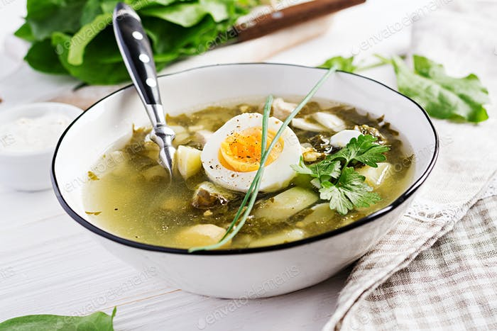 Green soup of sorrel in white  bowl.