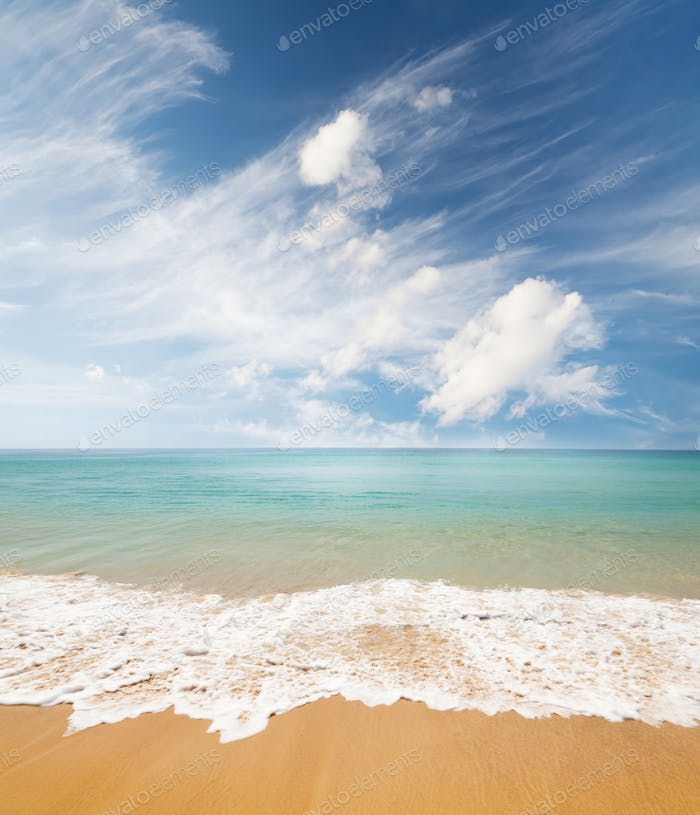 Summer beach, tropical sea and blue sky